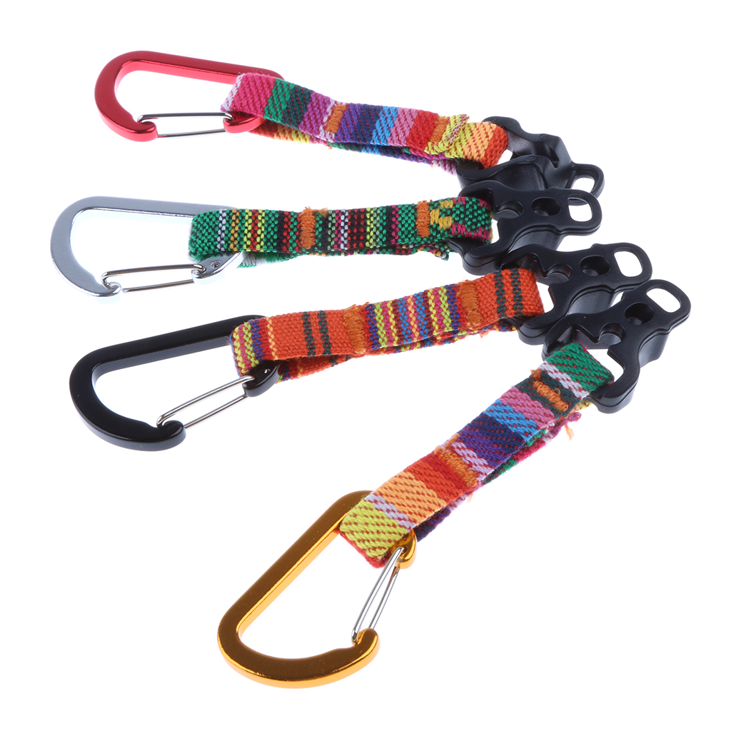 1 Piece D Shaped Carabiner Camping Tent Cord Fastener Webbing Rope Connector Buckle Guy Line Adjuster Tool