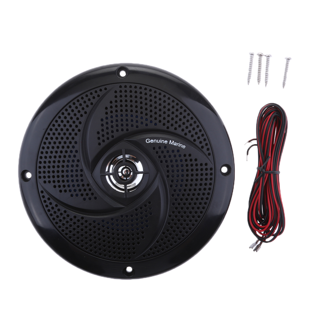 6.5 inch Marine Stereo Boat Speakers Amplified Full Range Stereo Sound Weather Resistant Flush Mount with 60W Power - Black