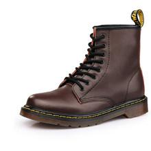 Ayakkabı bağcıkları Martin çizmeler bölünmüş deri tabanlık yüksek en iyi motosiklet botları kış/sonbahar Doc Martin kadın ayakkabı(China)