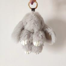 14 см милый плюшевый кролик брелок для женщин меховой помпон Ангел кролик брелок заяц помпон плюшевые куклы игрушка для девочек Сумка Автомо...(China)