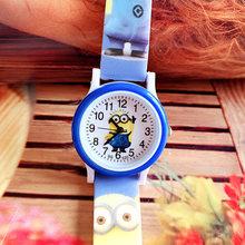 Hot fashion children's cartoon minions silicone print belt watch boys and girls not waterproof leisure quartz watch(China)