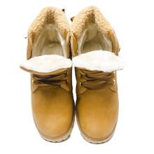 Fujin kadın kışlık botlar Platformu Pembe Kadın Çizmeler Dantel kadar Rahat yarım çizmeler Patik Yuvarlak Kadın Ayakkabı kış kar botları Ayak Bileği(China)