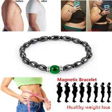 משקל אובדן עגול שחור אבן טיפול מגנטי צמידי נשים גברים צמיד בריאות המטיט למתוח מגנטי צמיד(China)