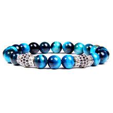8 mm poli naturel bleu Royal oeil de tigre pierre perles Bracelets hommes mode CZ argent boule breloque bracelet pour femmes bijoux(China)