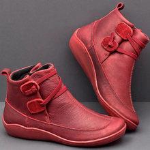 Frauen PU Leder Stiefeletten Frauen Herbst Winter Kreuz Riemchen Vintage Frauen Punk Stiefel Flache Damen Schuhe Frau Botas mujer(China)