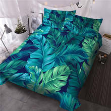 BlessLiving Green Leaf Bedding Set King Leaves Texture Duvet Cover Jungle Tropical Palm Foliage Home Textiles 3-Piece Bedspreads(China)