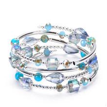 4 Helai Tembaga Pembungkus Tabung Alam Batu Manik-manik Biru Kristal Gelang untuk Wanita Anak Perempuan 2019 Fashion Wanita BoHo Perhiasan Hadiah(China)