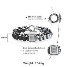 Trendsmax טבעי מפת אבן גברים של חרוזים צמיד לנשים נירוסטה צמידי זכר תכשיטי עין נמר 8 9 10 אינץ DB33(Hong Kong,China)