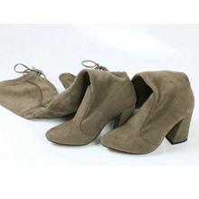 QUTAA 2020 ใหม่ FLOCK หนังผู้หญิงกว่าเข่าบู๊ทส์ Lace Up รองเท้าส้นสูงเซ็กซี่ฤดูใบไม้ร่วงผู้หญิงรอง(China)