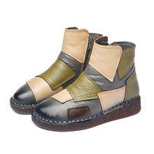 Xiuteng nữ Mùa Đông Giày Nam Da Thật 2019 Chính Hãng Da Giày nữ Mùa Đông Giày Nữ Giày Giày Trên Đế Phẳng Botas mujer(China)