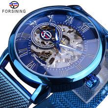 Forsining retro design de moda esqueleto esporte relógio mecânico luminoso mãos transparente malha pulseira para homens marca superior luxo(China)