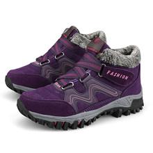 EOFK Winter Vrouwen Laarzen Vrouw Dame Echt Leer Warme Platte Platform Bont Waterdichte Sneeuw Sneakers Pluche Mode Toevallige Laarzen(China)
