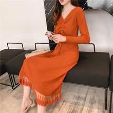 Модный темперамент кружева с длинным рукавом невысокая горловина вязать платье Женщины 2019 корейский стиль сплошной цвет длинный свитер пл...(China)