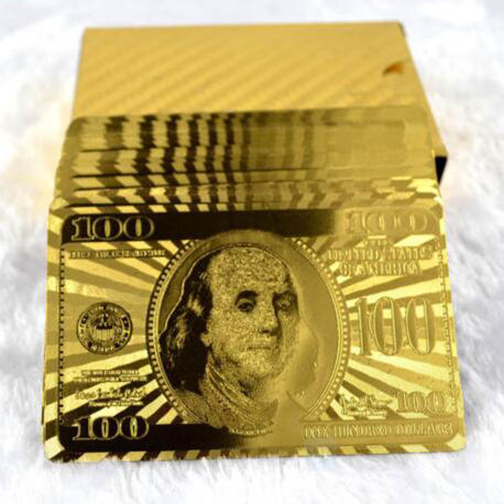 Creative Playing Cards With $100 Currency Pattern Gold Plated Christmas Gift