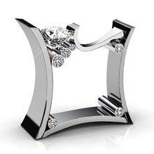 Anel de noivado de casamento anel de pedra de cristal de ouro rosa anel de prata(China)