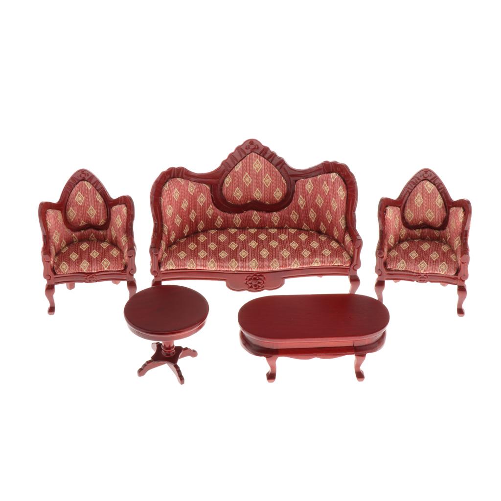 Retro 1/12 Dollhouse Furniture Miniature Kit 5PCS - Wooden Sofa Armchair & End Table & Side Table, Room Box Decor DIY Supplies