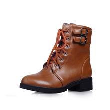 MoonMeek große größe 34-43 mode herbst winter stiefel lace up damen stiefeletten platz heels schuhe frauen stiefel 2020 neue(China)