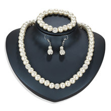 Imitation Pearl Necklace Earring Jewelry Sets Women Wedding Bridal Jewelry Elegant Party Gift Fashion Costume Accessories Gift(China)