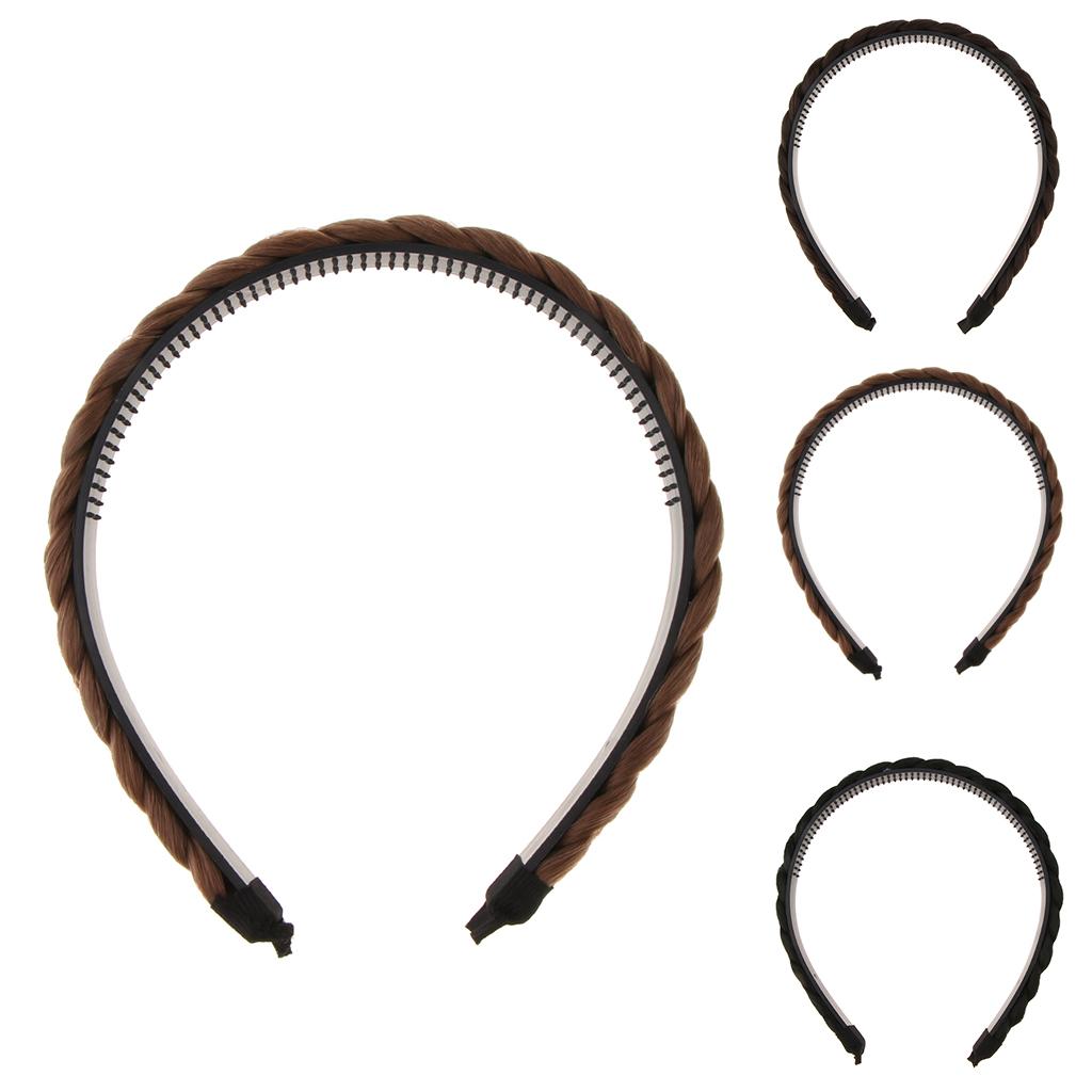 Chunky Synthetic Hair Braided Headband Classic Braids Hairpiece Women Beauty Headwear