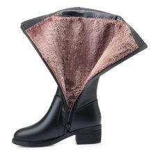Echtes Leder Frauen Kniehohe Stiefel Winter Plus Samt Wolle Dame High Heel Stiefel Mutter Schuhe Frau Warm Halten Weibliche schnee Boot(China)