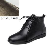 ALLBITEFO yüksek kalite hakiki deri düşük topuk yarım çizmeler muhtasar Frenulum Sonbahar Kış kadın çizmeler Saf renk moda botları(China)