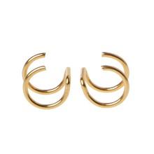 Titanio 2 anillos oreja gemelos Clips en cartílago de hélice anillo sin Piercing joyería del cuerpo U50C(China)