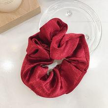 Lśniąca satyna/jedwab/Velet Scrunchies elastyczna gumka do włosów Pure Color sportowa opaska do włosów Lady gumki do włosów pierścień elastyczne włosy(China)
