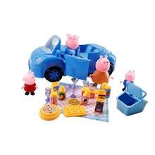Peppa pig george trilha som luz escalada escadas pvc azul brinquedos carro rosa casa dos desenhos animados da família amigo figura de ação brinquedo presente(China)
