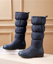 FEDONAS yeni kadın takozlar yüksek topuklu kar botları kış orta buzağı uzun sıcak ayakkabı kadın platformları pamuklu ayakkabılar yüksek çizmeler(China)