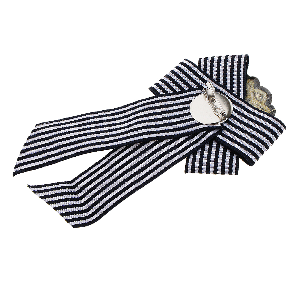 2 pcs Elegant Lady Girl Shirt Collar Brooch Pin Bow Tie Retro Stipe Cloth Pin Fashion Jewelry