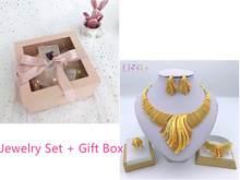 Liffly חדש הודי תכשיטי סטי צבעים כלה חתונה גדול קריסטל דובאי זהב נשים שרשרת עגילים(China)
