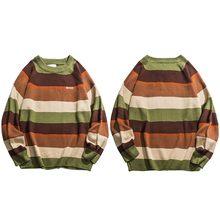 Harajuku Retro arcoíris punto rayado suéter para hombre Hip Hop Pullover suéter Streetwear masculino moda Otoño 2020 suéter de algodón(China)