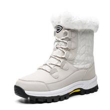 2019 mode Winter Schuhe Frau Rosa Leder Stiefel Frauen Plattform Schnee Stiefel Lace Up Flache mit Pelz Warm Heißer Verkauf große Größe(China)