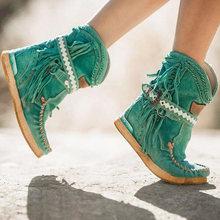 Mcckle Nữ Mắt Cá Chân Giày Tua Rua Cổ Ngắn Tăng Giặt Đàn Nữ Phong Cách Dân Tộc Ấm Giày Người Phụ Nữ Khóa Dây Nữ Botas mujer(China)