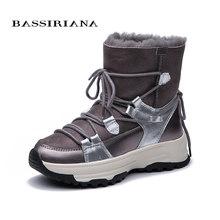 Bassiriana Mùa Đông 2019 Phụ Nữ Mới Khoác Giày Đế Da Lót Lông Thời Trang Ấm Ủng(China)