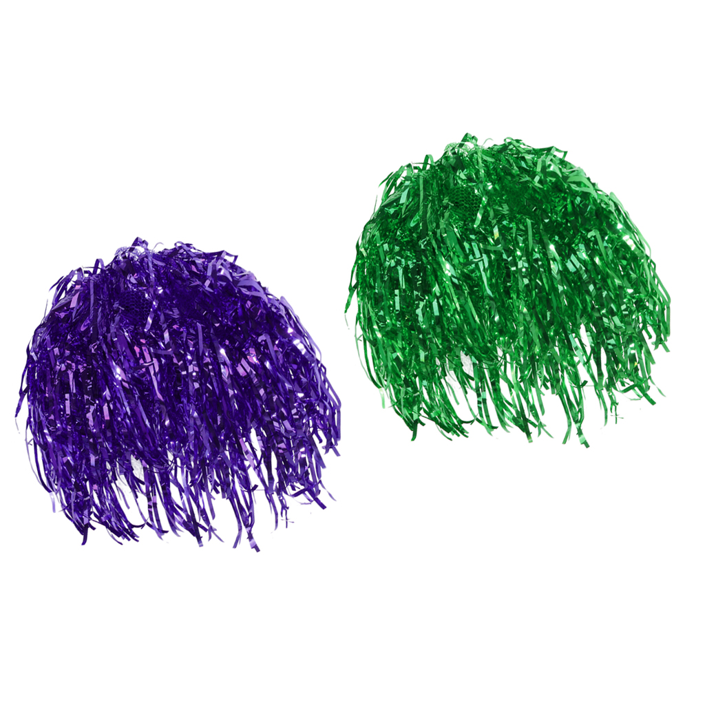 2pcs Mens Womens Funny Green Purple Shiny Metallic Foil Fancy Dress Cosplay Festival Tinsel Wigs