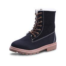Fujin Schnee Frau Stiefel Mitte Wade Plüsch Pelz Samt frauen Boot Wildleder Spitze Up Damen Weibliche Warme Flache Schuhe frauen Winter Schuhe(China)