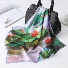 Nowy kwadratowy szalik kobiety jedwabne włosy zespół małe Foulard szale i okłady oleju Panting Lady biuro szalik(China)