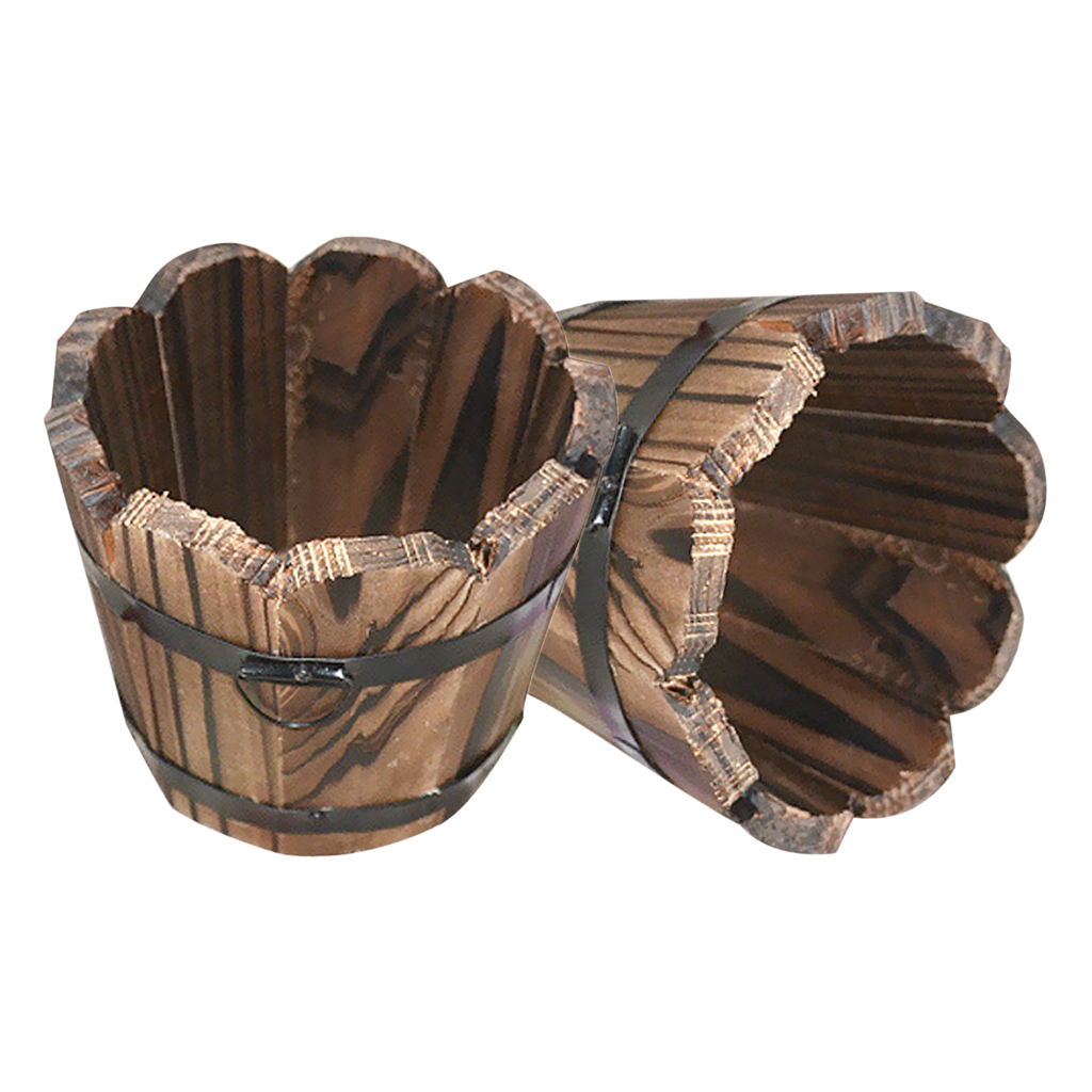 2Pcs Outdoor Yard Planter Lawn Wood Flower Plant Pot Whiskey Barrel - Wavy Top