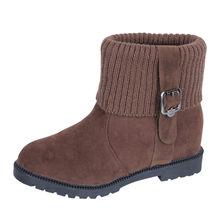 Kadın süet çizmeler kış toka askı platformu sıcak kar botları tutmak rahat moda ayakkabılar kadın düz topuk yuvarlak kafa çorap çizme(China)