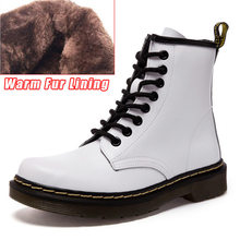 Echtes Leder Frauen weiß ankle Stiefel motorrad Stiefel Weibliche Herbst Winter Schuhe Frau punk Motorrad Stiefel(China)