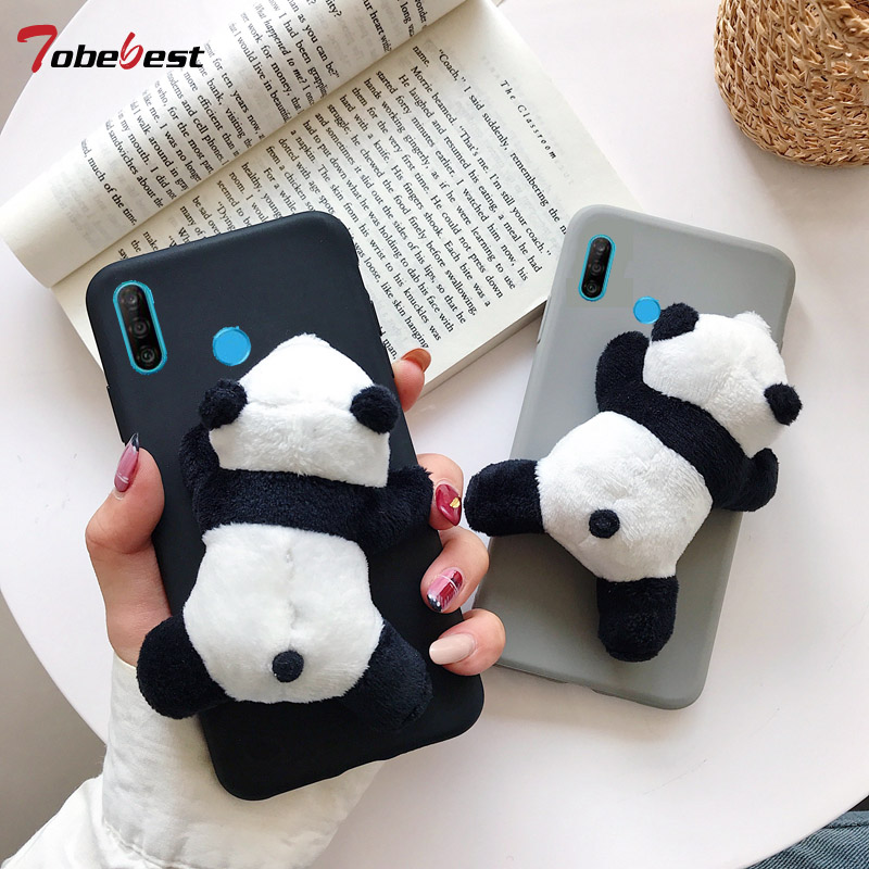 3D Cute Plush Toy Panda Case for Huawei Y5 Y6 Y7 2018 Honor 10 9 8 Lite 7C 20 Pro 8X 8C 8A P Smart Z 2019 TPU Silicone Cover