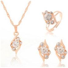 שהסיודוס קלאסי קריסטל 4pcs סטי תכשיטי חתונה זהב צבע תכשיטי עבור נשים(China)