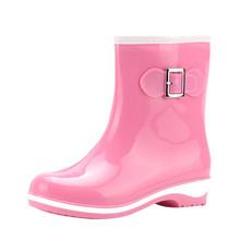 Kauçuk ayakkabı kadın yağmur çizmeleri kızlar bayanlar yürüyüş su geçirmez PVC kadın botları kış kadın tüp Rainboots pembe siyah A40(China)