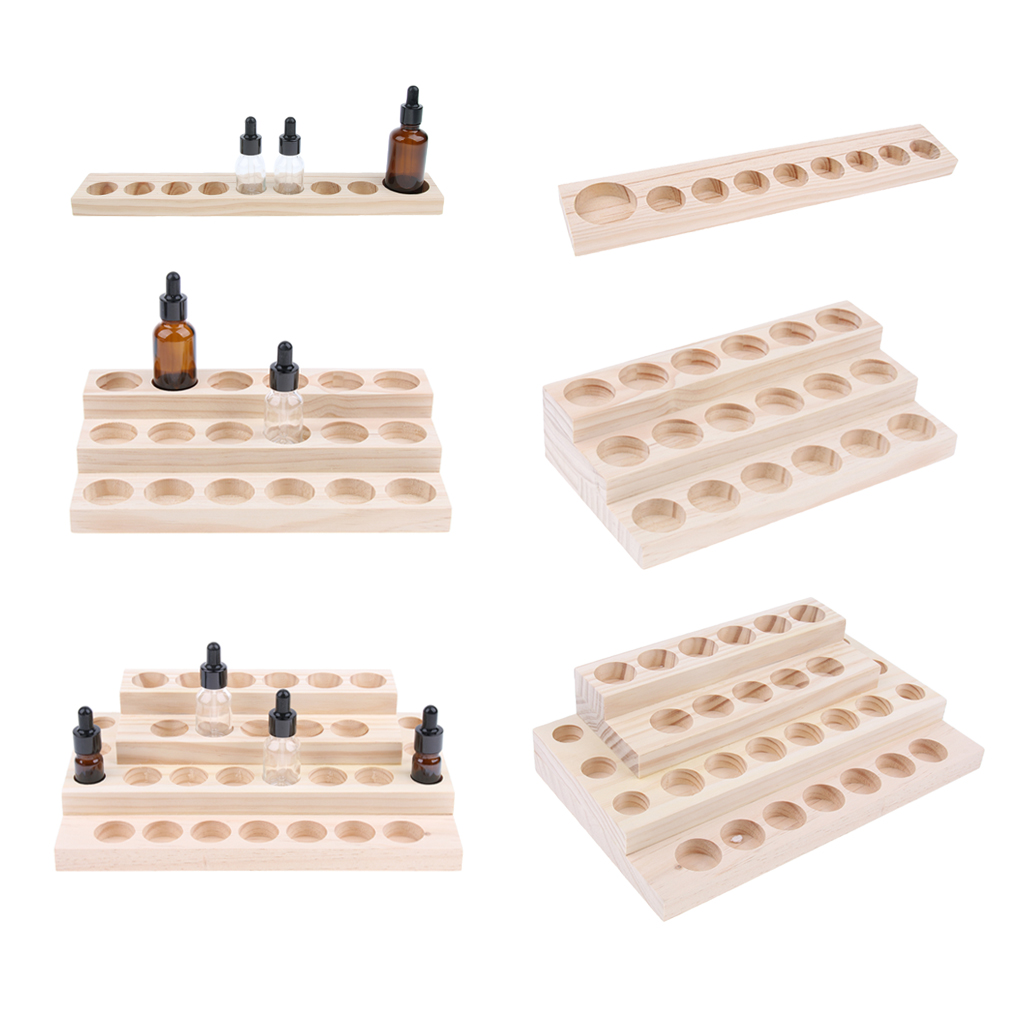 9/18/30 Slots Essential Oil Storage Display Rack Wooden Organizer Holder Tray Useful for Home or Salon Store Shop