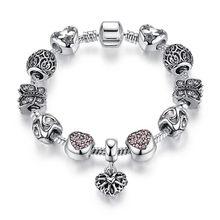 Eleshe 925 moda prata encantos pulseira para as mulheres de cristal amor coração contas apto marca pulseiras jóias pulseras mujer(China)