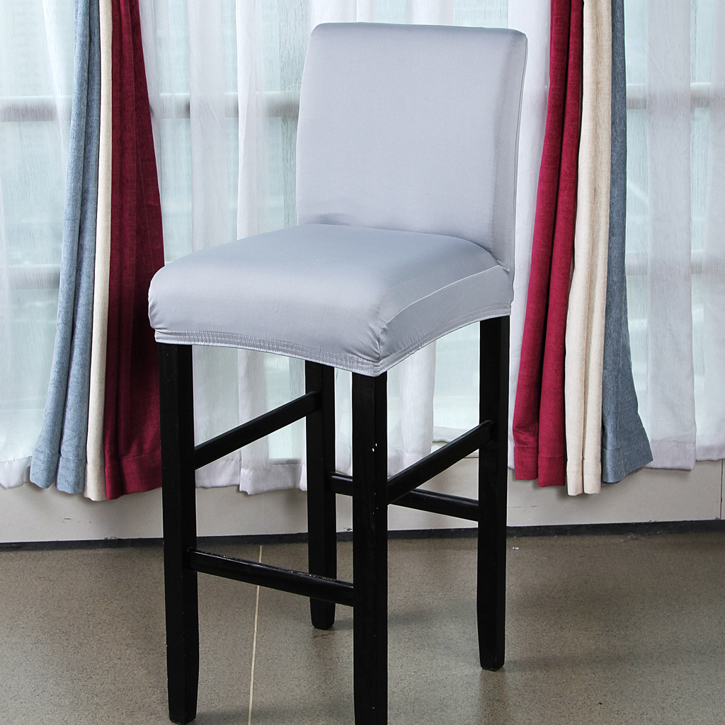 Solid Stretch Short Removable Dining Room Bar Stool Chair Cover Slipcovers Elastic Polyester fabric
