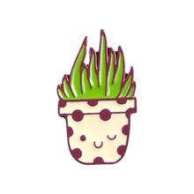 Mini pianta In Vaso di raccolta Spille s Cactus Succulente Spille Risvolto Dello Smalto Spille Del Fumetto Pianta Naturale Distintivi e Simboli Regalo Per I Bambini(China)