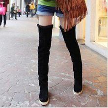 Fujin Winter Stiefel Frauen Plüsch Warme Dropshipping Mode Flachen Boden Leinwand Runde Kappe Wildleder Studenten Kausalen Über Das Knie Stiefel(China)