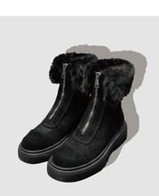 """Ernestnm Giày Bốt Nữ Mùa Đông Ấm Áp Khóa Kéo Bằng Phẳng Với Phụ Nữ Giày Nữ Bò Da Lộn Cổ Chân Khởi Động Botas Mujer """"Sang Trọng Nữ Tuyết giày(China)"""